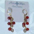 RED CARNELIAN SEMI PRECIOUS~STEIN BLYE DESIGNER CHANDELIER EARRINGS GOLD PLATED