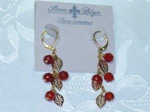 RED CARNELIAN SEMI PRECIOUS~STEIN BLYE DESIGNER CHANDELIER EARRINGS GOLD PLATED