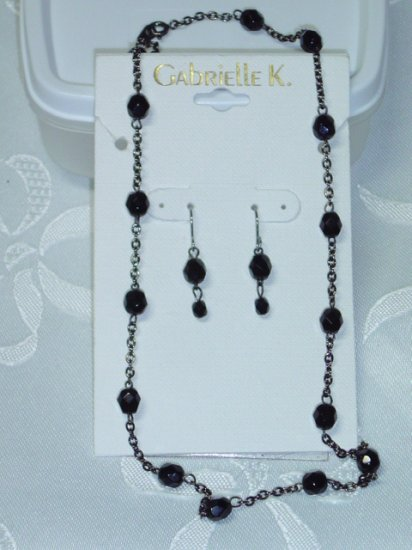 Gabrielle K (Miriam Haskell Company) Black Austrian Crystal choker necklace & matching earrings set