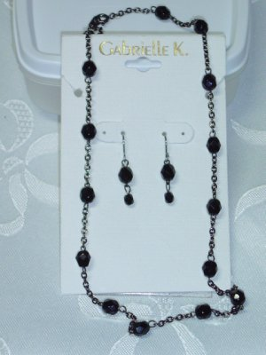Gabrielle K (Miriam Haskell Company) Black Austrian Crystal choker necklace & matching earrings set