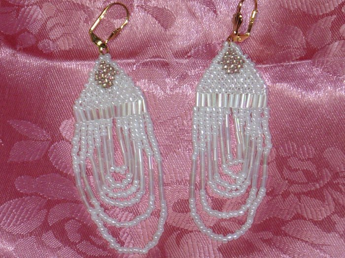 HAND BEADED CHANDELIER EARRINGS~FROM CANCUN, MEXICO