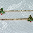 PAIR SWAROVSKI CRYSTAL elements CHRISTMAS TREE HAIR JEWELRY PINS~BOBBI PINS PAIR