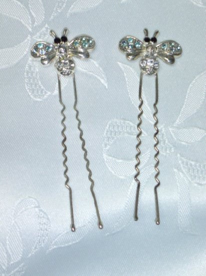 Pair Bumble Bee hair fork stick hair fascinatosr with rhinestones long hair forks