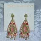 ERICA LYONS TRUNK SHOW CHANDELIER EARRINGS~DESIGNER, PERIDOT COLOR AND CORAL COLOR~SPRING!