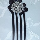 Matte black fork faux pearl hair fork stick pin fascinator comb