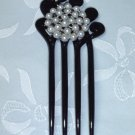 White faux pearls on a black hair fork pin facsinator comb