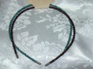 CHARLOTTE NY Turquoise/brown hand beaded head band hair band PAIR