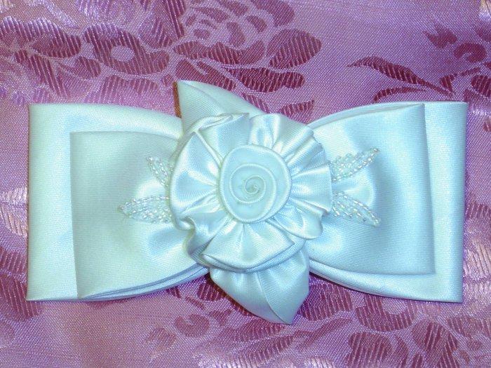 $28 WILTON BRAND WEDDING BEADED WHITE FABRIC HAIR JEWELRY BARRETTE~WEDDING