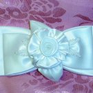 $28 WILTON BRAND WEDDING BEADED WHITE FABRIC HAIR JEWELRY BARRETTE~WEDDING