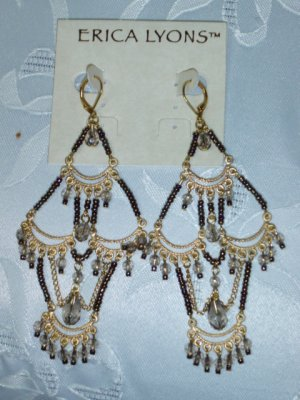 ERICA LYONS TRUNK SHOW EQYPTIAN DESIGN LONG CHANDELIER EARRINGS (GLASS SEED BEADS)