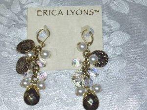 ERICA LYONS FAUX ROMAN COINS~GODDESS CHANDELIER EARRINGS NEW~TRUNK SHOW ITEM
