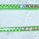 Polka Dot white and green hair sticks with Swarovski elements handmade hair chop stick fascinators