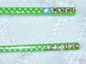 Polka Dot white and green hair sticks with Swarovski elements handmade hair chop stick fascinators