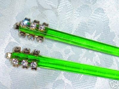 Swarovski Elements handmade hair jewelry chop stick fascinators in green