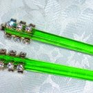Swarovski Elements handmade hair jewelry chop stick fascinators in green