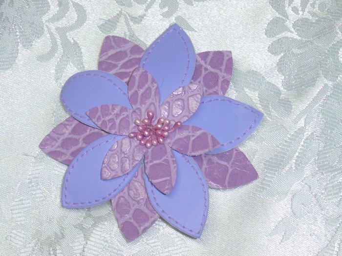 PURPLE LEATHERETTE FLOWER HAIR JEWELRY BARRETTE~NEW