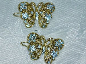 PAIR of sky BLUE RHINESTONE BUTTERFLY CLIP HAIR  BARRETTES