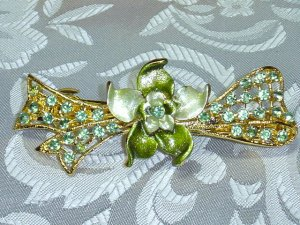 GREEN RHINESTONE HAND PAINTED FLORAL BOW BARRETTE HAIR JEWELRY