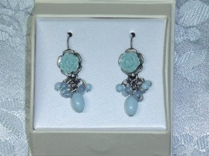 AUTHENTIC LAURA ASHLEY ROSE EARRINGS, LIGHT BLUE AND TEAL COLORS, PIERCED EARRINGS~GIFT BOXED NEW