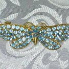 BLUE RHINESTONE BUTTERFLY  HAIR JEWELRY BARRETTE