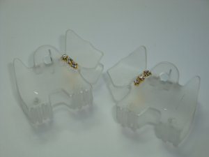 Pair Swarovski crystal elements matching frosty white scottie dog hair claw clips