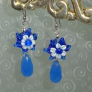 ARTISAN BLUE JADE, LAMPWORK, PLATINUM PLATED EARRINGS