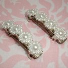 Faux Pearl cabuchons mini barrette pair hand made by kittenkat22