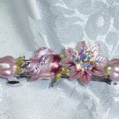PINK HAND PAINTED~LUXURIOUS SWAROVSKI CRYSTAL ROSE HAIR BARRETTE ~$35 value