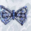 BLUE SWAROVSKI CRYSTAL ELEMENTS BUTTERFLY FRENCH CLIP FOCAL BARRETTE ~$35