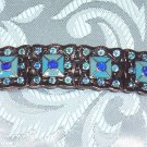 COPPER TONE ENAMELED RHINESTONE HAIR JEWELRY BARRETTE