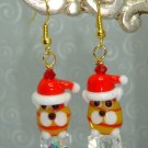 ARTISAN LAMPWORK EARRINGS CHRISTMAS CAT CRITTER 22K GF~8 items ship for the price of one in the US
