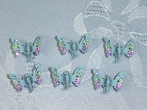 Powder blue multicolor rhinestone mini hair claw clip fascinators