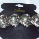 KARINA FRENCH CLIP BARRETTE SILVER TONE WITH FAUX PEARL
