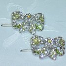 PAIR~AUSTRIAN CRYSTAL HAND ENAMELED BOW SHAPED CLIP STYLE BARRETTES