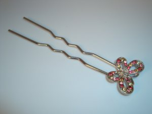 Pink and Yellow Rhinestone Crystal Butterfly Hair fork stick pin updo fascinator