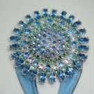 Large colorburst high quality rhinestone blue and green hair fork stick fascinator comb