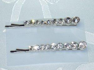 Wedding Bridal Swarovski Crystal elements bobbi pin hair fascinator pair