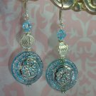 SS PLATED VINTAGE blue LUCITE BEAD BALI SWAROVSKI EARRINGS