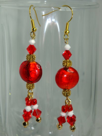 ARTISAN LAMPWORK RED FOIL LENTIL, SWAROVSKI CRYSTAL BEADS AND 22 K GP EARRINGS