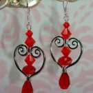 ARTISAN 925 SS SWAROVSKI & CZECH CRYSTAL HEART EARRINGS