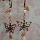COPPER BUTTERFLY & FRESHWATER PEARLS ARTISAN EARRINGS