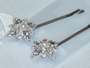 Swarovski Crystal Elements and Faux Pearls bobbi pin hair adornments Wedding
