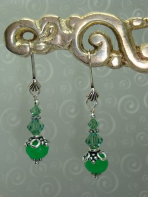 Genuine Jade and Sterling silver Bali Earrings hand made by Kittenkat22