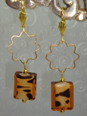 22K GP Tigress Tiger lampwork Swarovski Crystal Earrings handmade by kittenkat22