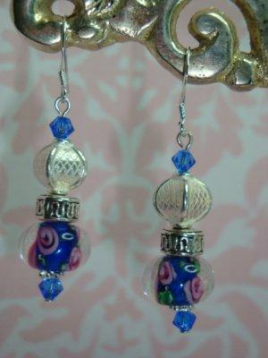 Blue Lampwork Bali Crystal Earrings 925 SS hand made by kittenkat22