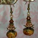 Mocha Lampwork Swarovski Elements Bali Brass Earrings by kittenkat22