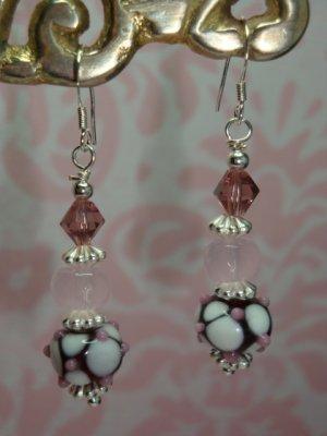 925 SS Pink & White Lampwork Swarovski Elements Bali Earrings by kittenkat22