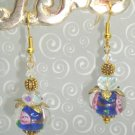 Blue Wedding Cake Lampwork Swarovski Elements Crystal Earrings by kittenkat22
