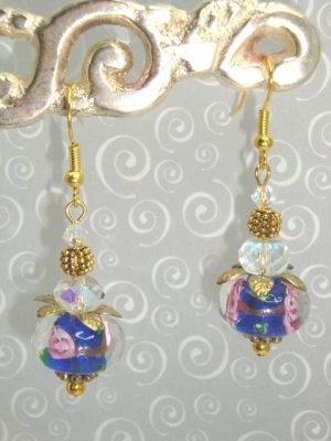 Blue Wedding Cake Lampwork Swarovski Elements Crystal Earrings by kittenkat22