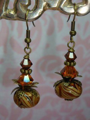 Brass Swarovski Mocha Swirl Lampwork Earrings hand made by kittenkat22